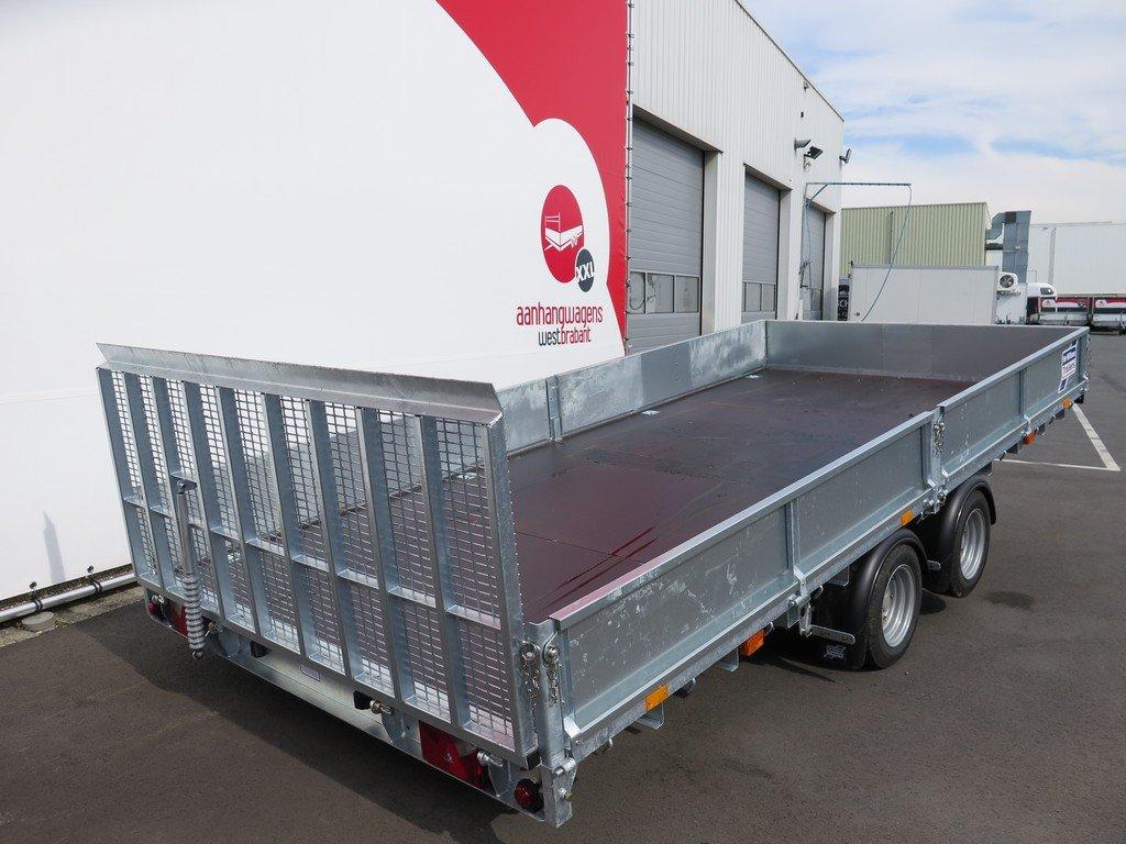 Ifor Williams machinetransporter 477x198cm 3500kg kantelbaar Aanhangwagens XXL West Brabant 2.0 schuin achter Aanhangwagens XXL West Brabant