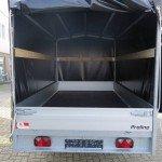 Proline plateauwagen met huif huif aanhangwagen Aanhangwagens XXL West Brabant achterkant geopend