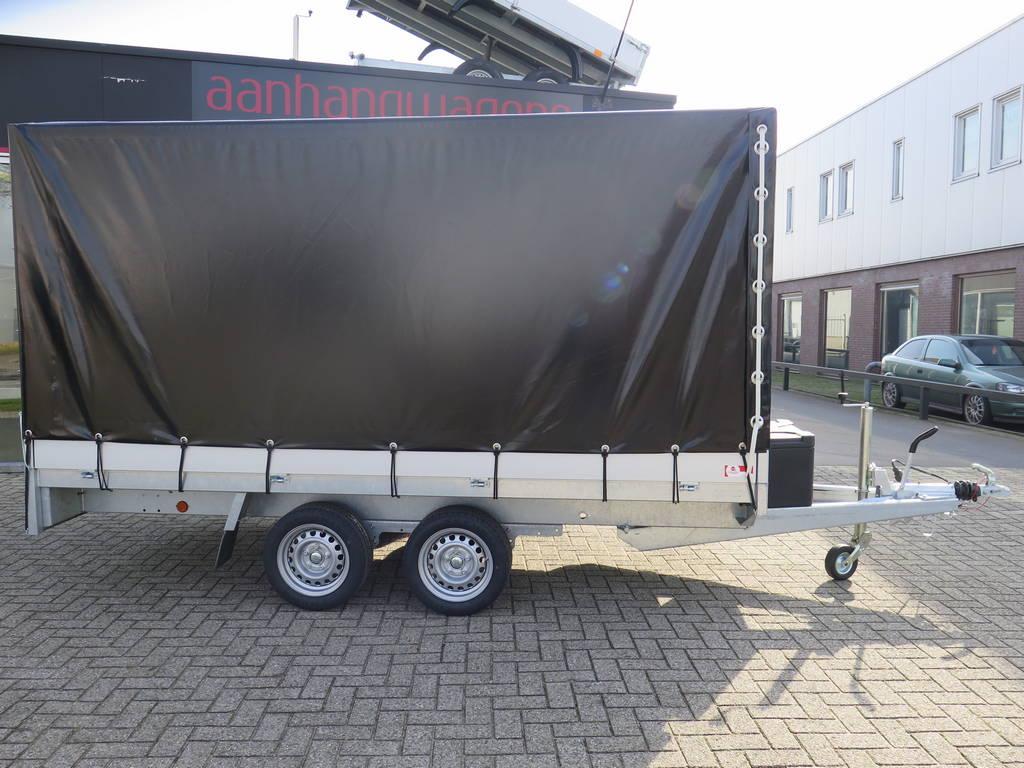 Proline plateauwagen met huif huif aanhangwagen Aanhangwagens XXL West Brabant zijkant