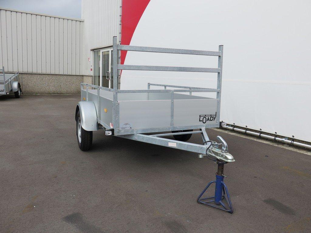 Loady enkelas aanhanger 200x132cm 750kg alu Aanhangwagens XXL West Brabant 2.0 voorkant Aanhangwagens XXL West Brabant