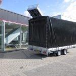 Proline plateauwagen met huif 400x220x210cm 3500kg Aanhangwagens XXL West Brabant achterkant dicht
