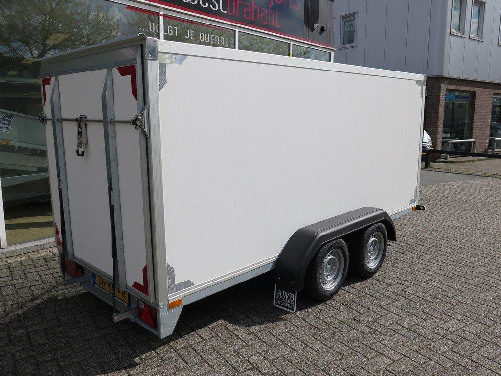 Easyline gesloten ballonwagen 350x140x145cm 1500kg speciaalbouw Aanhangwagens XXL West Brabant achterkant schuin