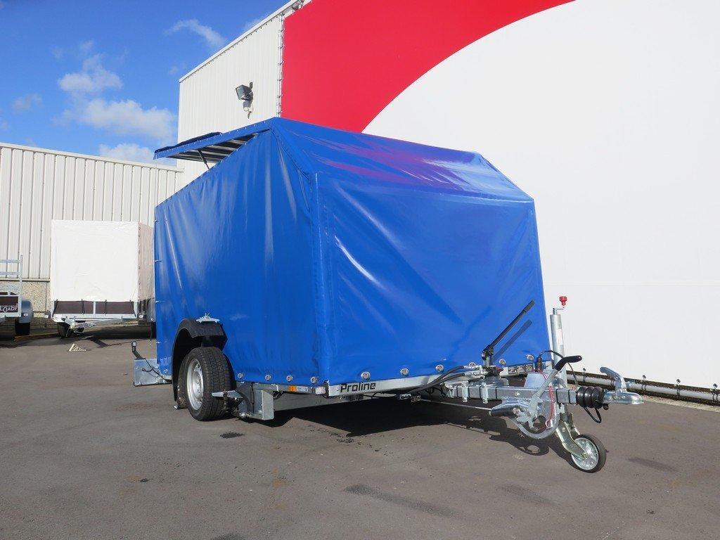 Proline motortrailer 314x180x170cm 1500kg zakbaar met huif Aanhangwagens XXL West Brabant voorkant Aanhangwagens XXL West Brabant