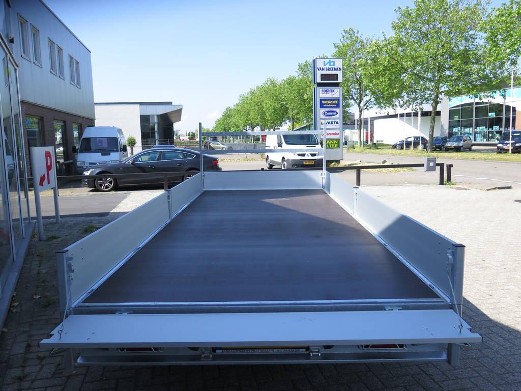 Proline plateauwagen 503x222cm 3500kg verlaagd Proline plateauwagen 503x220cm 3500kg verlaagd Aanhangwagens XXL West Brabant achterkant geopend