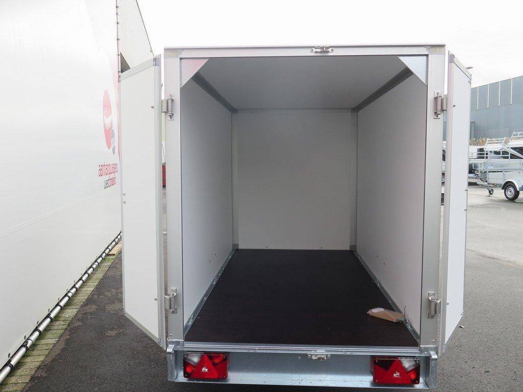 Saris gesloten aanhanger 256x134x150cm 1350kg grijs Aanhangwagens XXL West Brabant achter open Aanhangwagens XXL West Brabant